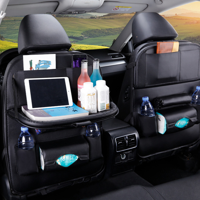 PU Leather Backpack Storage Bag 1 Unit | Car Seat Storage Bag, Multifunctional IPad Hanging Bag, Mini Holder, Universal Kids Back Seat Organizer