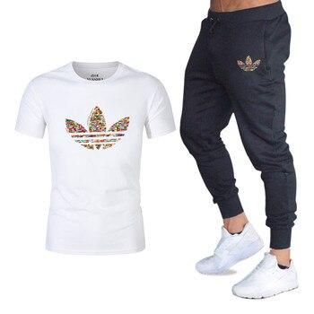 f7de71666 Harajuku hombres conjuntos de camisetas + Pantalones de los hombres ropa de  marca traje de dos ...