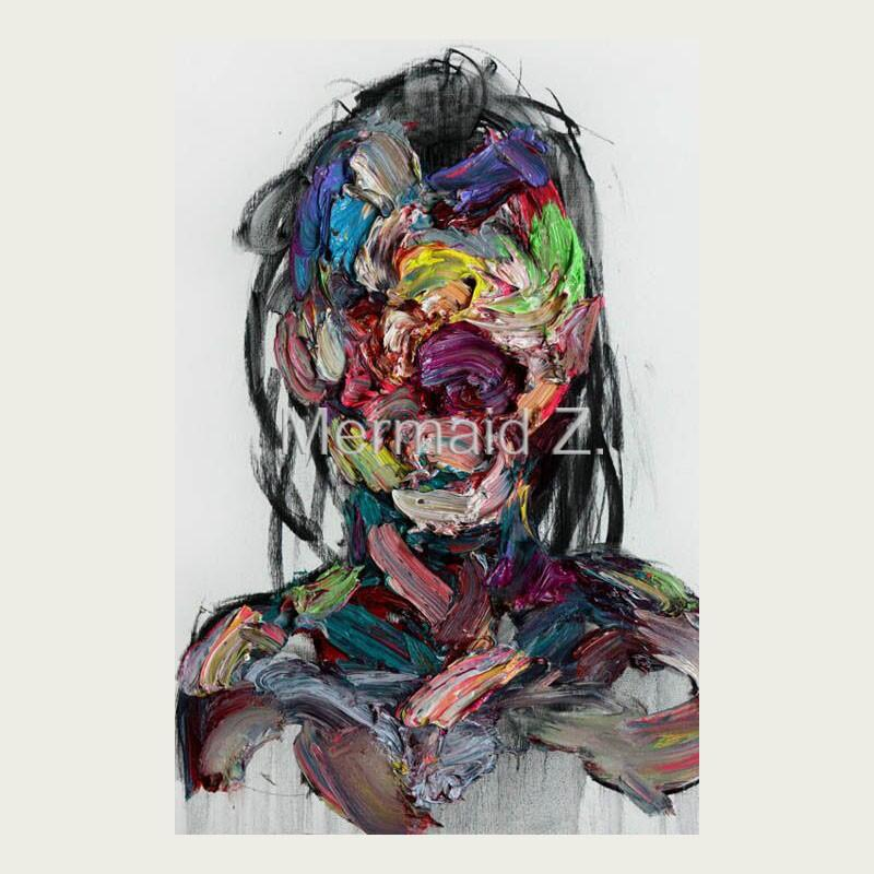 Hand painted abstract oil paintings design colorful for Hand painted portraits from photos
