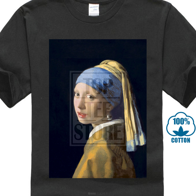 8cfe03c9fd US $8.79 12% OFF|Girl With A Pearl Earring Johannes Vermeer Painting 2018  Customize T Shirt Men Casual Cotton Summer Trend Free Shipping Summer-in ...