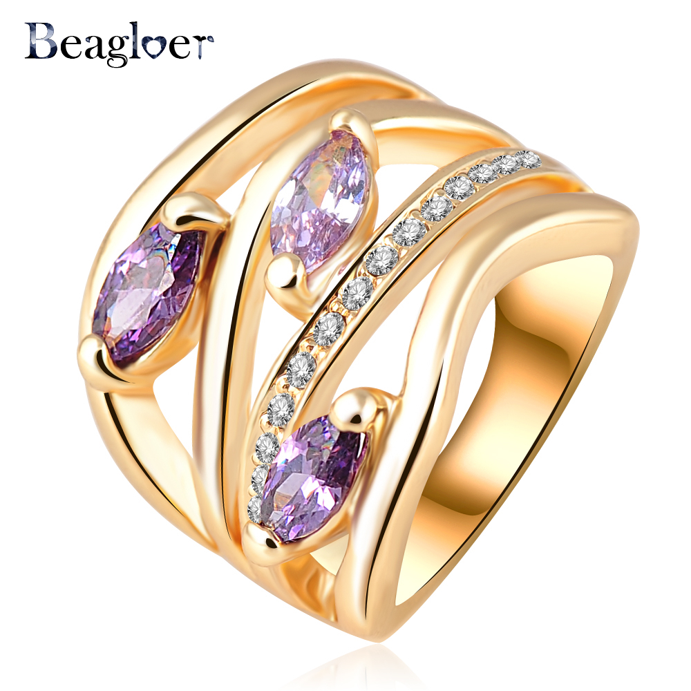 Beagloer Newest Unique Multi-layer Engagement Rings Genuine Gold Color Pave Austrian Crystals Fashion Jewelry Ri-HQ0224