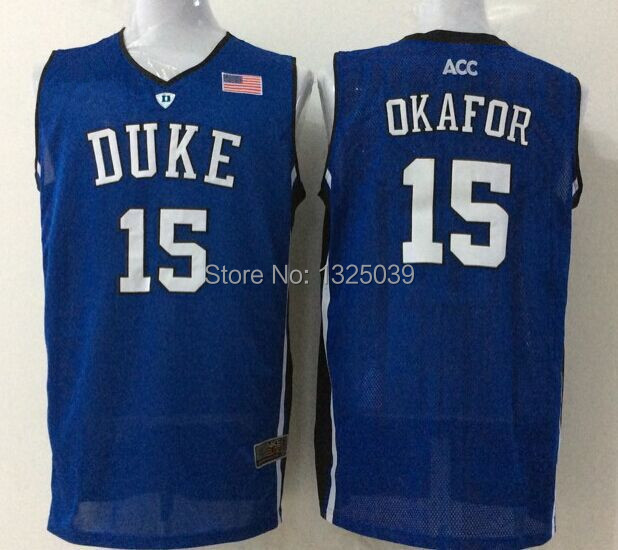 f2e92f5c587 Blue White Black Duke Blue Devils 15 Jahlil Okafor 2015 NCAA Basketball  Jersey ...