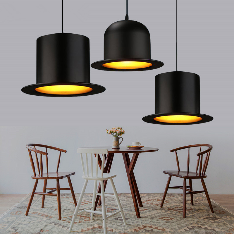 Modern black pendant lights england top hat lamp aluminum modern black pendant lights england top hat lamp aluminum lampshade coffee restaurant bar kitchen light fixture indoor lighting in pendant lights from mozeypictures Images