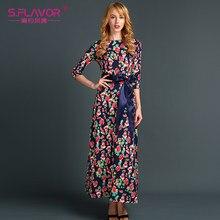 f1e02a4ce4310 S. LEZZET Rus tarzı rahat vestidos kadınlar o-boyun üç çeyrek kol uzun  elbise Sonbahar baskı gevşek vestidos ile Kemer