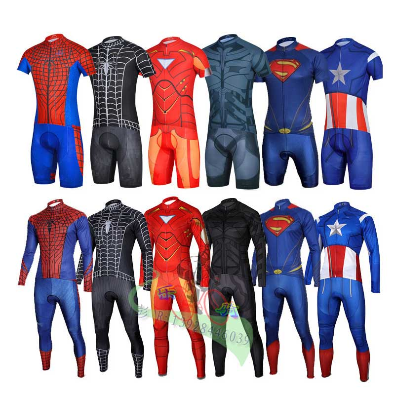 Super Hero Iron man Superman Spiderman Batman cycling jersey men short long cycling clothing roupa ciclismo cycling clothing set