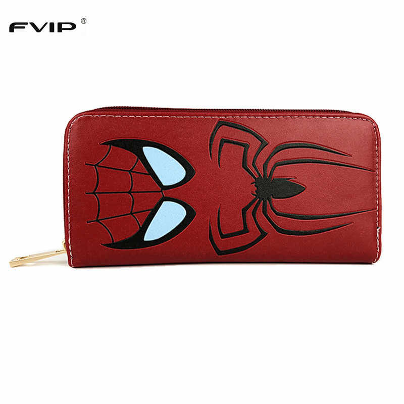 FVIP High Quality Anime Cartoon Long Wallet Spider Man/Super Man/The Flash/Deadpool Men Women Purse Long With Card Holder