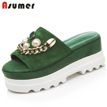 ASUMER NEW 2020 fashion kid suede leather sandals women wedges platform string bead mules summer shoes party casual shoes