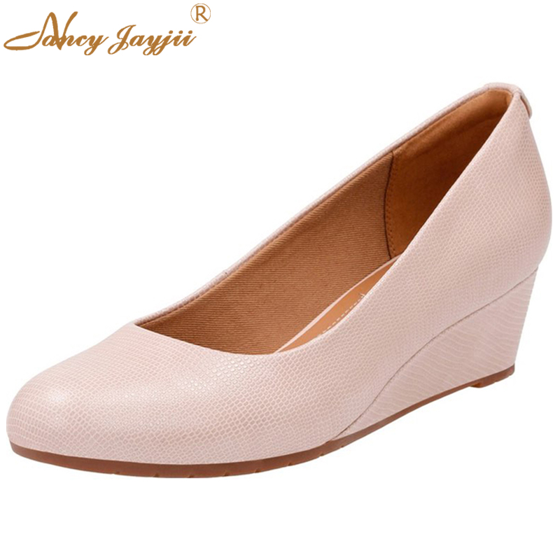 Nancyjayjii High Quality Mid High Heels Wedges Women Shoes Lizard Leather Slip-On Pumps Wedding Party Shoes Fashion Pink Ladies lizard носки shield mid s black
