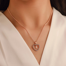 Sleek minimalist inlaid zircon necklace 26 English letters heart shaped clavicle chain Summer hot ladies free shipping