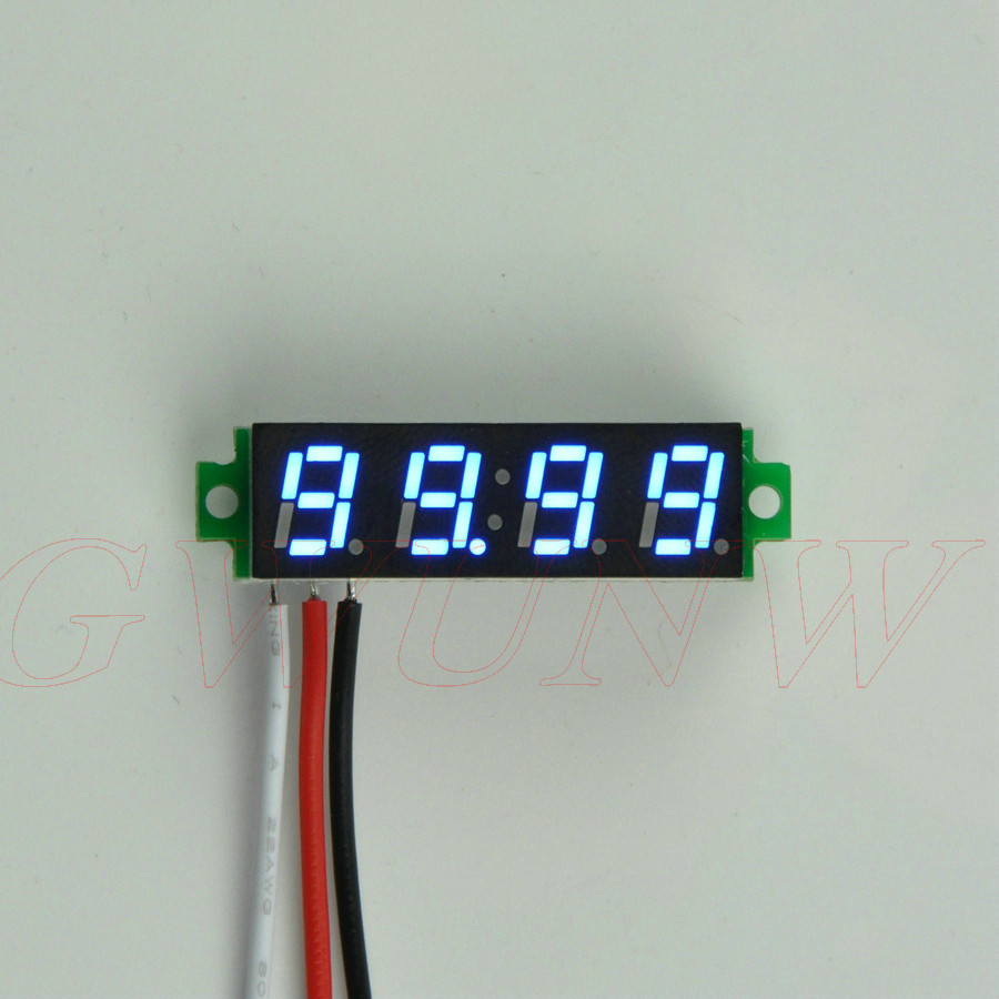 GWUNW BY428V 0.28 inch 4 bit Micro voltmeter DC 0-99.99V(100V) Voltage Tester Meter gwunw by456v dc 0 30 00v 30v 4 bit digital voltmeter panel meter red blue green 0 56 inch voltage tester meter