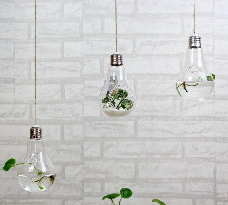 Hanging Light With Planter: Clear Hanging Bulb Vases Succulent Air Plant Bulb