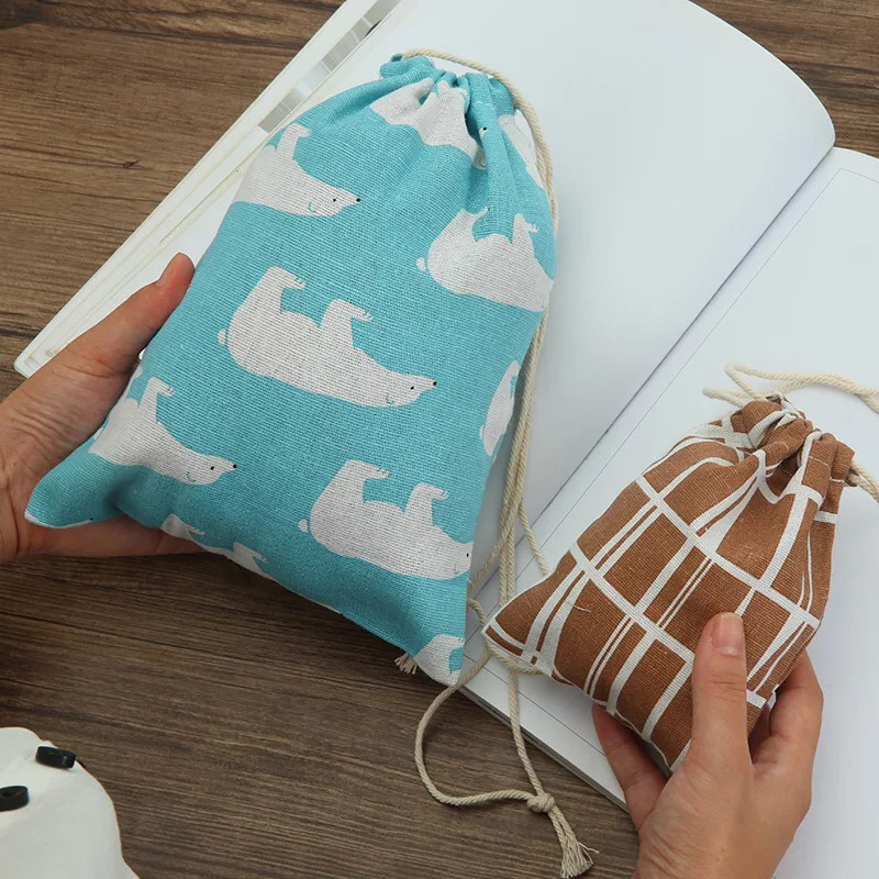 Cotton Pouch Cartoon Travel Luggage Bags Drawstring Bag Clothes Storage Shoe Organizer Cosmetic Pocket