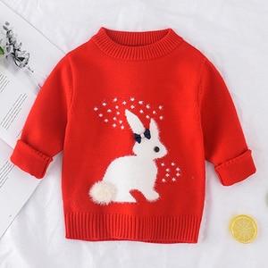 Image 2 - 2019 inverno outono da criança menina camisola de manga longa quente bebê meninas camisola crianças roupas meninas pulôver topo 2 4 anos coelho