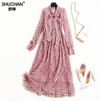Shuchan Pleated Dress For Women Prairie Chic Print Chiffon Dresses To Mid calf Bow Tie Vestidos Long Dress Pink Full Sleeve