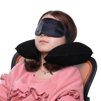 Flocking Soft U Shaped Travel Pillow Car Air Flight Inflatable Pillows Neck Support Headrest Cushion with Eyes Cover Earplugs image