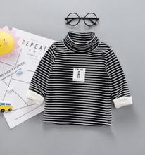 Turtleneck Striped Children Sweatshirts 2018 Autumn Winter New Baby Boys Girls Pullover Cartoon Kids Clothes for 1-4Y SY-F185008