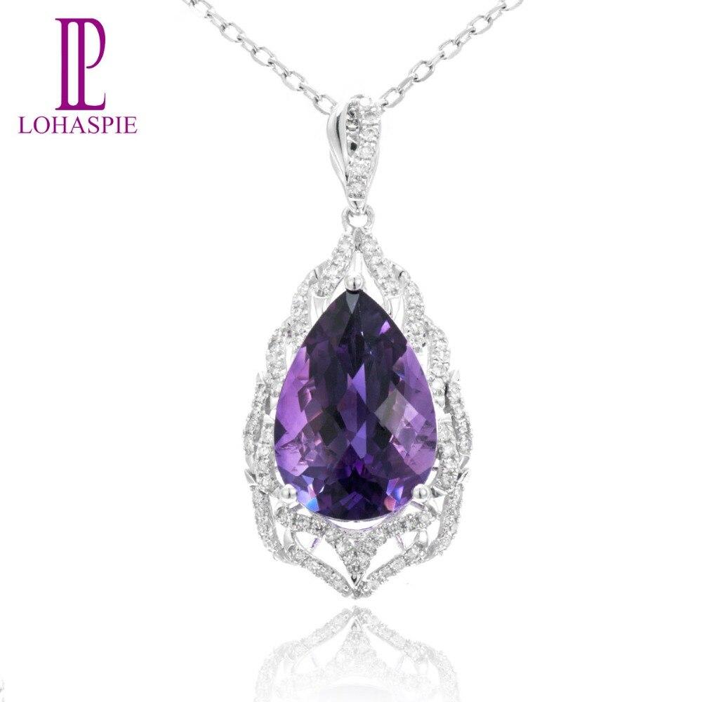 Lohaspie Diamond-Jewelry 7.18ct Natural Amethyst Gemstone Solid 18k 750 White Gold Pendant Fine Stone Jewelry For Birthd Gift