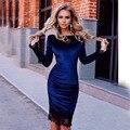 2016 rusia otoño invierno dress mujeres sólido cordón de color azul oscuro moda de manga larga de partido atractivo del club dress delgado vaina de las mujeres vestidos