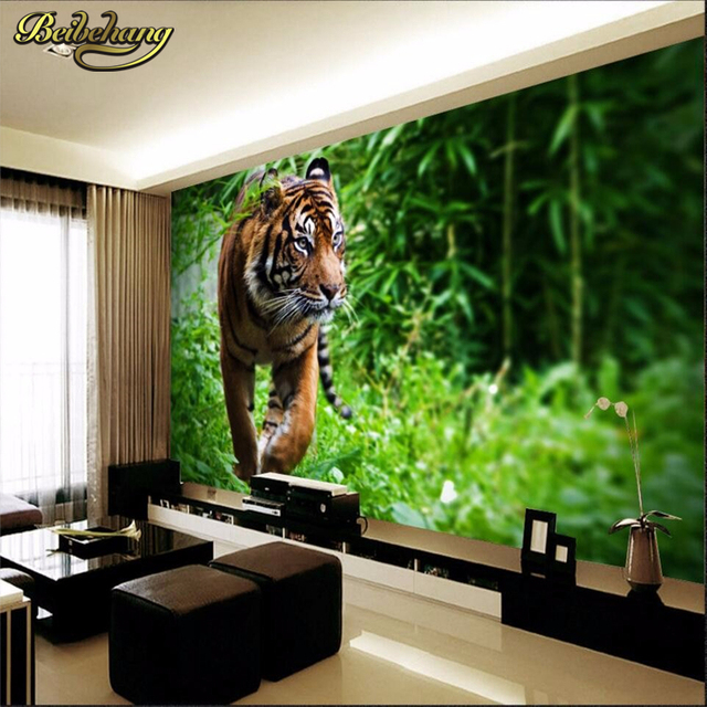 beibehang Custom photo wall papers home decor Tiger jungle king ...