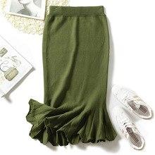 High Waist Stretch Mermaid Long Skirts For Ladies Elegant Slim Knitted Ruffle Skirt Women Winter Green Black Wool Pencil