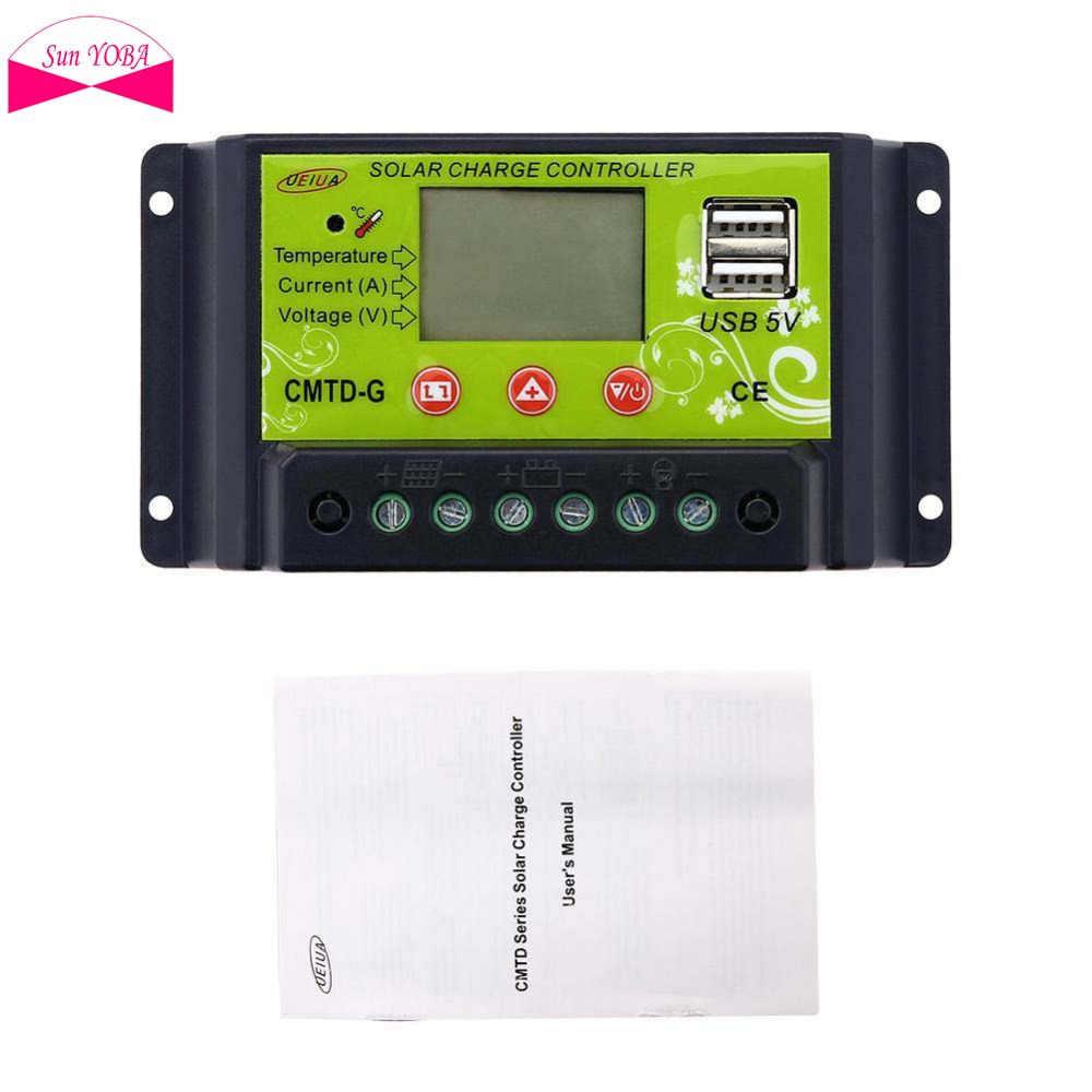 PWM 20A Flexible Panel Solar controlador de carga 12 V 24 V pantalla LCD USB 5 V regulador de carga de la batería Solar protección segura PJW