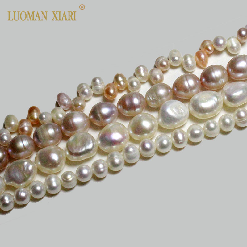 Fine AAA 100% Natural White Pink Freshwater Pearls Beads Irregular Beads For Jewelry Making DIY Bracelet Necklace 4mm-11mm