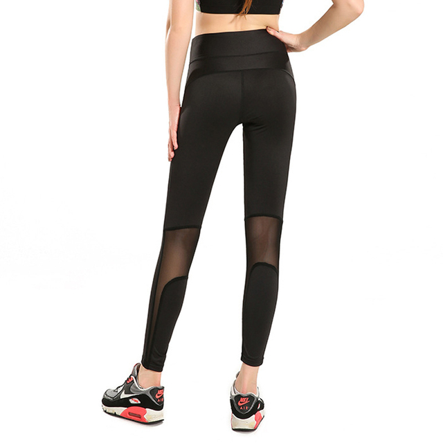 Sexy New Unique Mesh Patchwork Women Black Leggings Skinny Elastic Casual Workout Compression Pants For Fitness Sporting Dancing