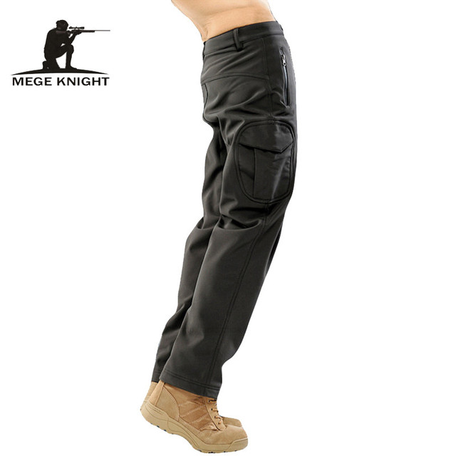 MEGE Unisex Autumn Winter Pants, Tactical Shark Skin Softshell 14 Colors Military Army Water repellent Thermal Camo Fleece Pants
