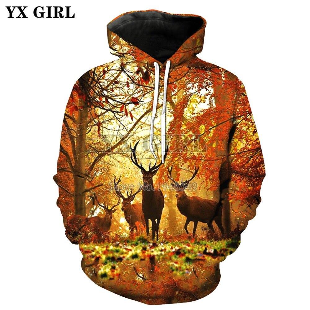 3D Print Deer Leaf Snow Green Hoodie Women Men Casual Sweashirt Pullover S-5XL