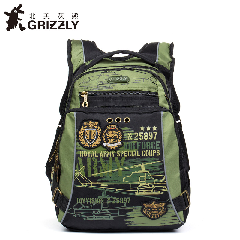 GRIZZLY New Arrival Kids Cartoon Backpack Orthopedic Waterproof Book Bag Reduce Spinal Heavy Backpack For Grade