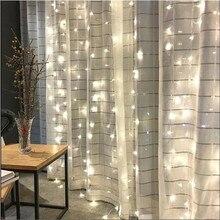 3 м * 2 м светодиодный сосулька фонарик стены волшебные светодиодные фонарики Свадебные свет шнура Рождественские огни для свадьбы дома и сада вечерние Декор