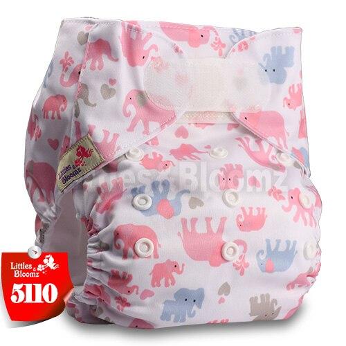 [Littles&Bloomz] Один размер многоразовые тканевые подгузники Моющиеся Водонепроницаемые Детские карманные подгузники стандартная застежка на липучке - Цвет: 5110