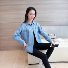 Denim Shirt For Women 2017 New Arrival Spring Summer Plus Size Clothing With Pockets Casual Blue Blouses Long Sleeve Cotton Tops