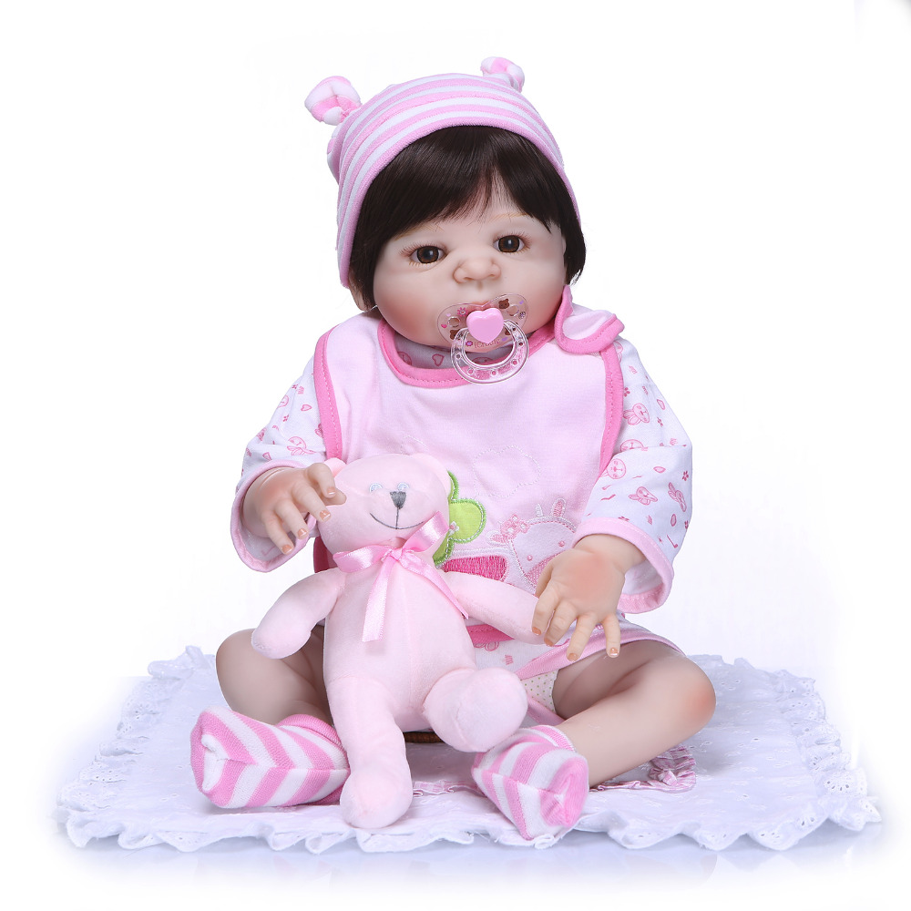 Nicery 22inch 55cm Bebe Reborn Doll Hard Silicone Boy Girl Toy Reborn Baby Doll Gift for Child Pink Bear Baby Doll nicery 22inch 55cm bebe reborn doll hard silicone boy girl toy reborn baby doll gift for children purple princess hat baby doll