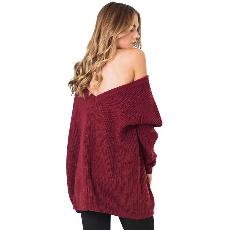 Women Sweater Dress Sexy Deep V Neck Knitted Sweater Dress Long Sleeve Winter Dress  LJ5645E v neck layered long sleeve pullover sweater