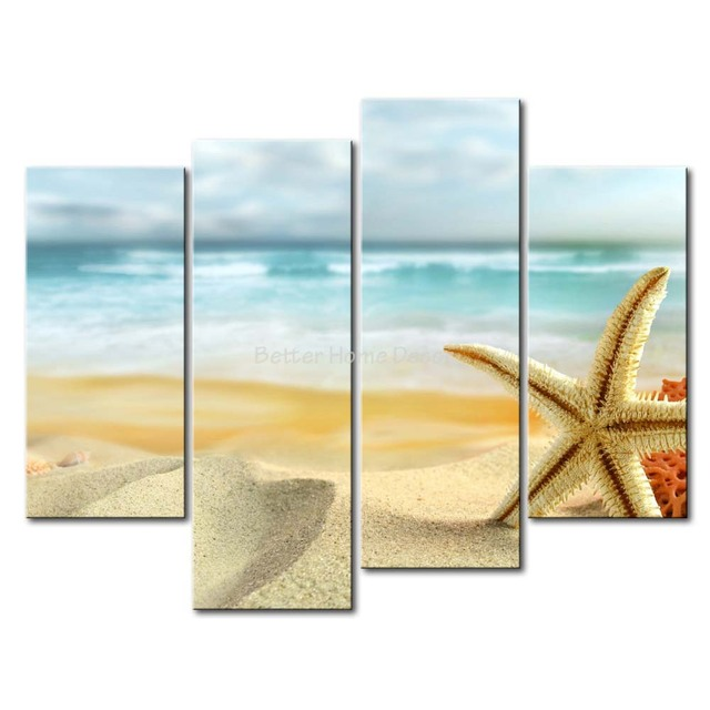 3 Piece Wall Art Painting Starfish And Coral In The Beach Print On ...