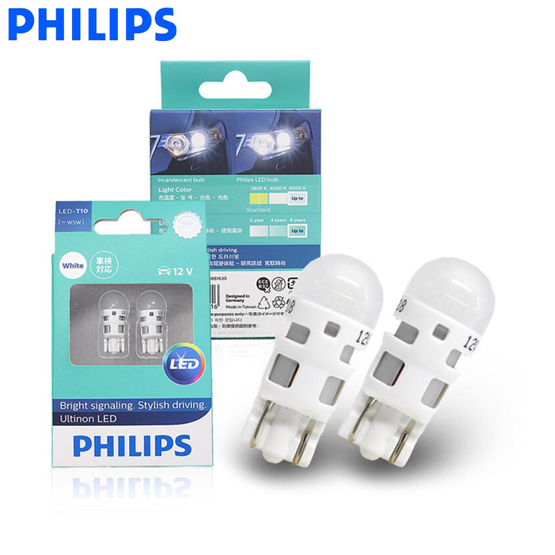 Philips Led W5w T10 11961ulw Ultinon Led 6000k Cool Blue White Light Turn Signal Lamps Interior Light Stylish Driving Pair Signal Lamp Aliexpress