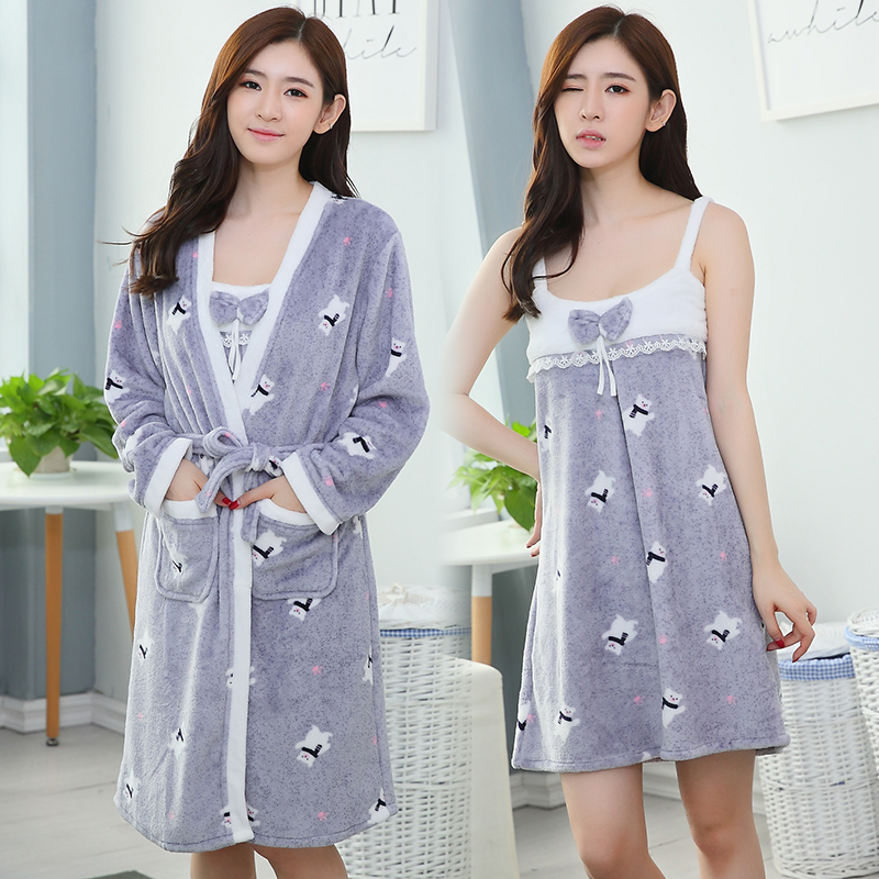 Detail Feedback Questions about 2PCS Thick Warm Flannel Robes Set for Women  Winter Coral Velvet Bathrobe Dressing Gowns Lingerie Night Dress Two Piece  ... 9a7659ed3