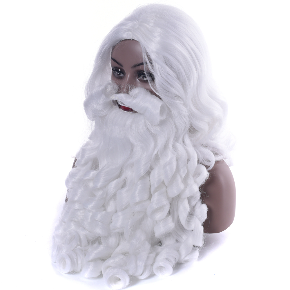 IMISSU Christmas Costume Santa Claus Wig And Beard Synthetic Hair White Cosplay Hair Hairpiece For Xmas Halloween New Year Hat