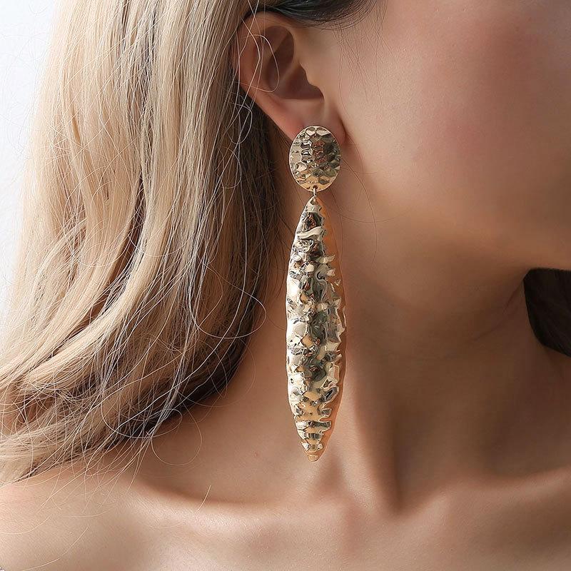 Piercing dourado cor branca espelho brincos grandes brincos longos para decoração feminina balançar brinco boucle d'oreille