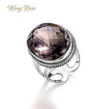 Wong Hujan Vintage 100% 925 Sterling Silver Natural Smoky Quartz Gemstone Pernikahan Pembukaan Adjustable Cincin Perhiasan Hadiah Grosir(China)