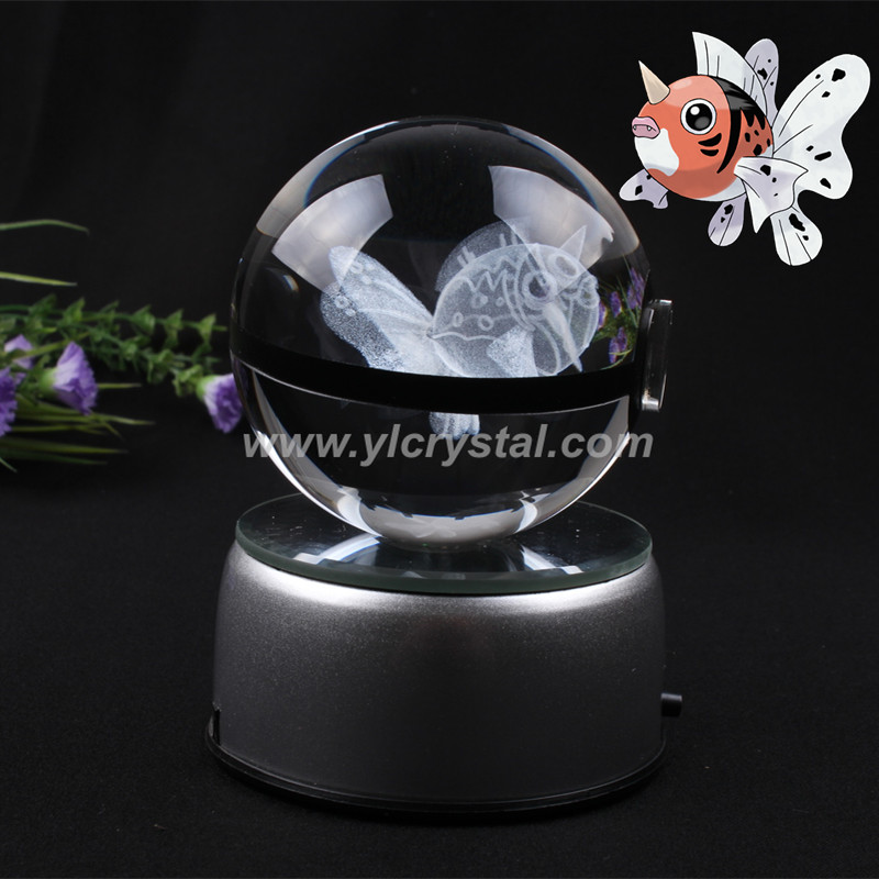 New Product Pokemon Ball With Engraving Seaking Crystal Ball With LED Base With Gift Box