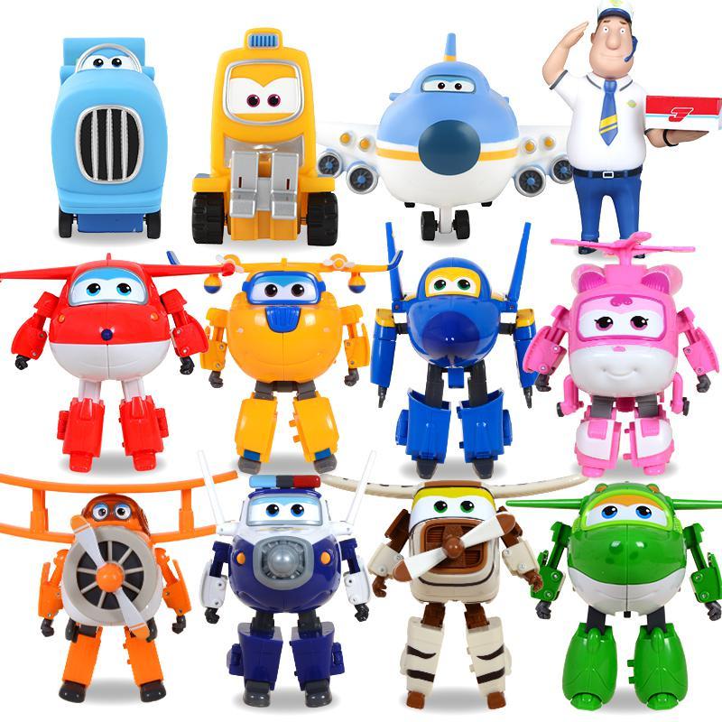 Grande taille!! 12 pièces/ensemble Super ailes Mini figurines ABS Robot jouets Superwings Q Version mignon Mini avion Robot pour cadeau d'anniversaire jouet