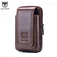 BULLCAPTAIN Casual Men Waist Bags Pouch Genuine Leather Purse Fanny Pack Vintage Small Pocket Phone Belt Bag Brown