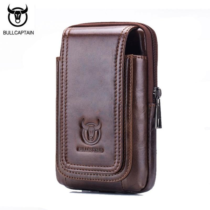 BULLCAPTAIN alkalmi férfi deréktáska táska valódi bőr pénztárca Fanny csomag Vintage kis zseb telefon öv táska barna