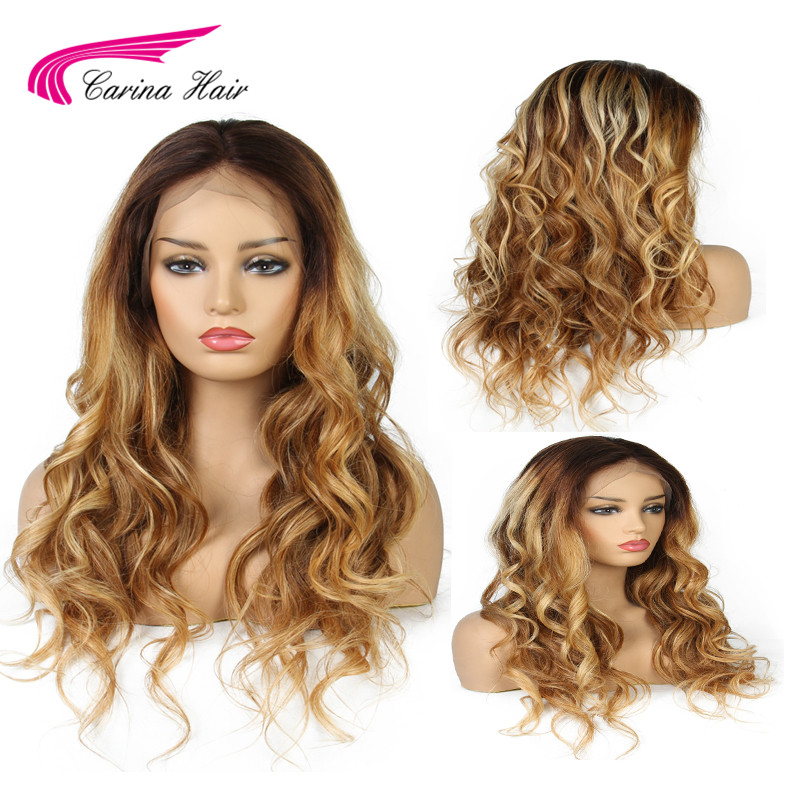 Carina 4 30 27 Lace Front Human Hair Wigs with Baby Hair Ombre 3 Colors Brazilian