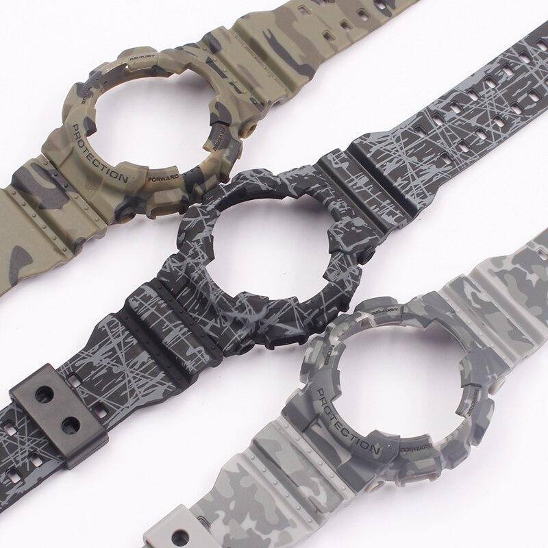 Watch Accessories For Casio GSHOCK GLS GD GA110 GA100 GD120 Camouflage Silicone Strap Case