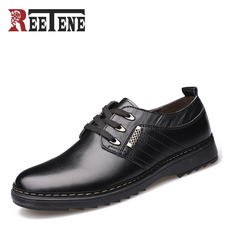 REETENE 2017 Oxfords Men Spring Autumn New British Lace Up Leather Male Casual Shoes Fashion Mocassins Breathable Men's Flats  spring autumn new men driving shoes fashion breathable leather casual shoes korean version lace up rubber men shoes z180