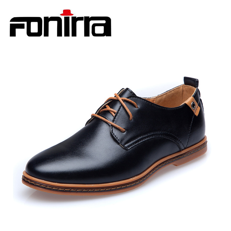 FONIRRA Men Casual Shoes 2017 PU Leather Lace-up Plus Size 38-48 Flat With Shoes Pointed Toe Oxfords Business Shoes 208 okhotcn male pointed toe cow leather shoes daily plaid men casual business dress shoes oxfords men flat lace up sapato masculino