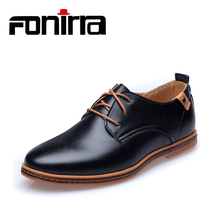 Men Casual Shoes 2016 PU Leather Lace-up Plus Size 38-48 Flat With Shoes Pointed Toe Oxfords Business Shoes 208 стоимость